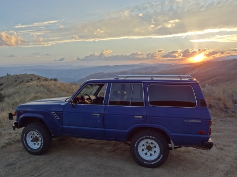 The Landcruiser at sunset in Central Washington
