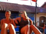 Sofie and Christina in the back of a truck in Leon, Nicaragua