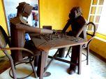 Eduardo Carmona's famouns scrap metal sculptures nearing checkmate